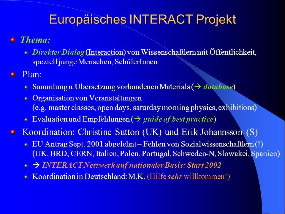 Europäisches INTERACT Projekt Thema: Direkter Dialog (Interaction) von Wissenschaftlern mit Öffentlichkeit, speziell junge Menschen, SchülerInnen Plan