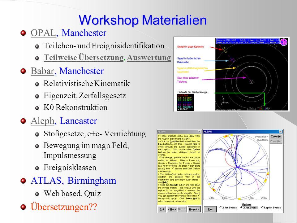 Workshop Materialien OPALOPAL, Manchester Teilchen- und Ereignisidentifikation Teilweise ÜbersetzungTeilweise Übersetzung, AuswertungAuswertung BabarB