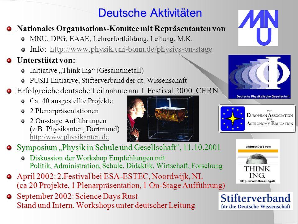 Deutsche Aktivitäten Nationales Organisations-Komitee mit Repräsentanten von MNU, DPG, EAAE, Lehrerfortbildung, Leitung: M.K. Info: http://www.physik.