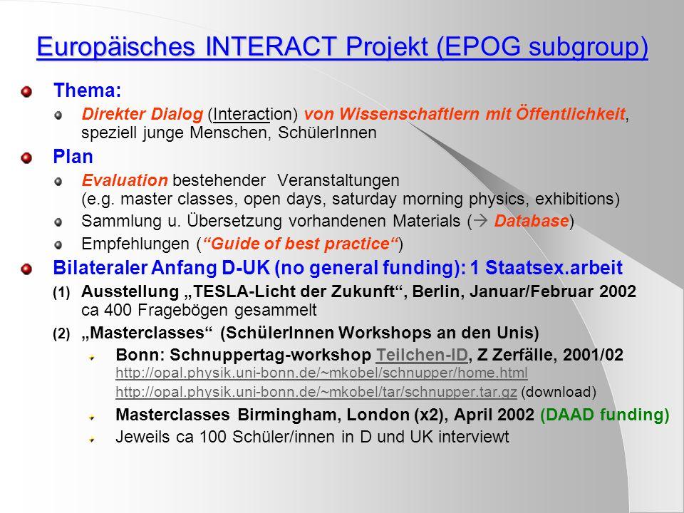Europäisches INTERACT Projekt (EPOG subgroup) Thema: Direkter Dialog (Interaction) von Wissenschaftlern mit Öffentlichkeit, speziell junge Menschen, SchülerInnen Plan Evaluation bestehender Veranstaltungen (e.g.