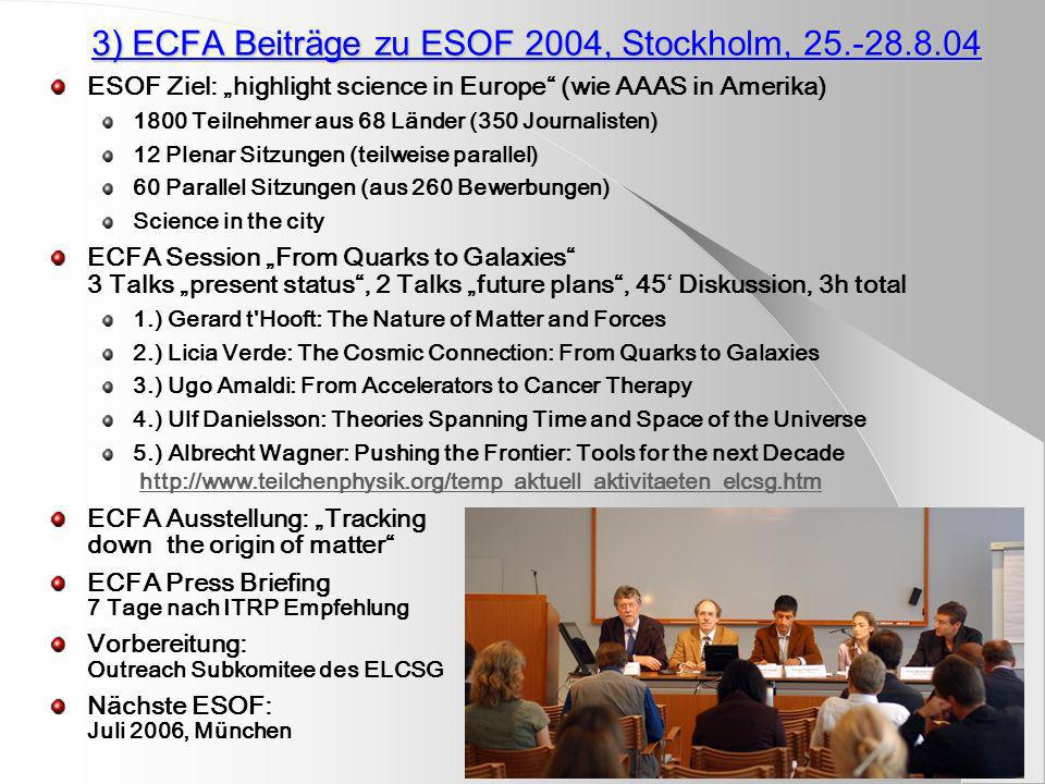 3) ECFA Beiträge zu ESOF 2004, Stockholm, 25.-28.8.04 ESOF Ziel: highlight science in Europe (wie AAAS in Amerika) 1800 Teilnehmer aus 68 Länder (350 Journalisten) 12 Plenar Sitzungen (teilweise parallel) 60 Parallel Sitzungen (aus 260 Bewerbungen) Science in the city ECFA Session From Quarks to Galaxies 3 Talks present status, 2 Talks future plans, 45 Diskussion, 3h total 1.) Gerard t Hooft: The Nature of Matter and Forces 2.) Licia Verde: The Cosmic Connection: From Quarks to Galaxies 3.) Ugo Amaldi: From Accelerators to Cancer Therapy 4.) Ulf Danielsson: Theories Spanning Time and Space of the Universe 5.) Albrecht Wagner: Pushing the Frontier: Tools for the next Decade http://www.teilchenphysik.org/temp_aktuell_aktivitaeten_elcsg.htmhttp://www.teilchenphysik.org/temp_aktuell_aktivitaeten_elcsg.htm ECFA Ausstellung: Tracking down the origin of matter ECFA Press Briefing 7 Tage nach ITRP Empfehlung Vorbereitung: Outreach Subkomitee des ELCSG Nächste ESOF: Juli 2006, München