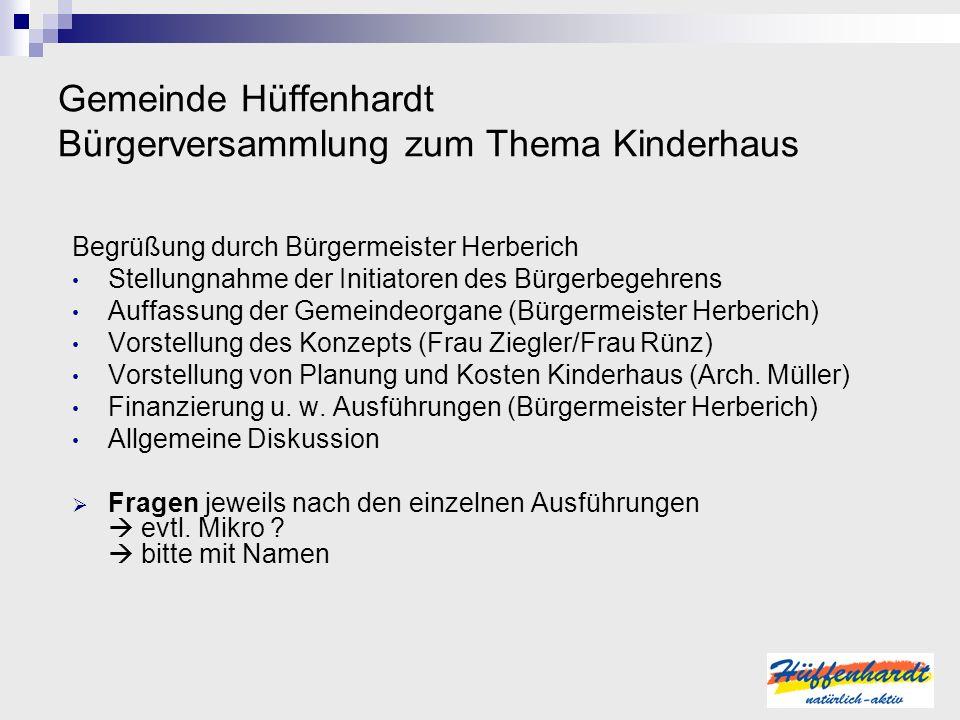 Gemeinde Hüffenhardt Bürgerversammlung zum Thema Kinderhaus Begrüßung durch Bürgermeister Herberich Stellungnahme der Initiatoren des Bürgerbegehrens