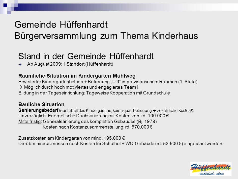 Gemeinde Hüffenhardt Bürgerversammlung zum Thema Kinderhaus Stand in der Gemeinde Hüffenhardt Ab August 2009: 1 Standort (Hüffenhardt) Räumliche Situa