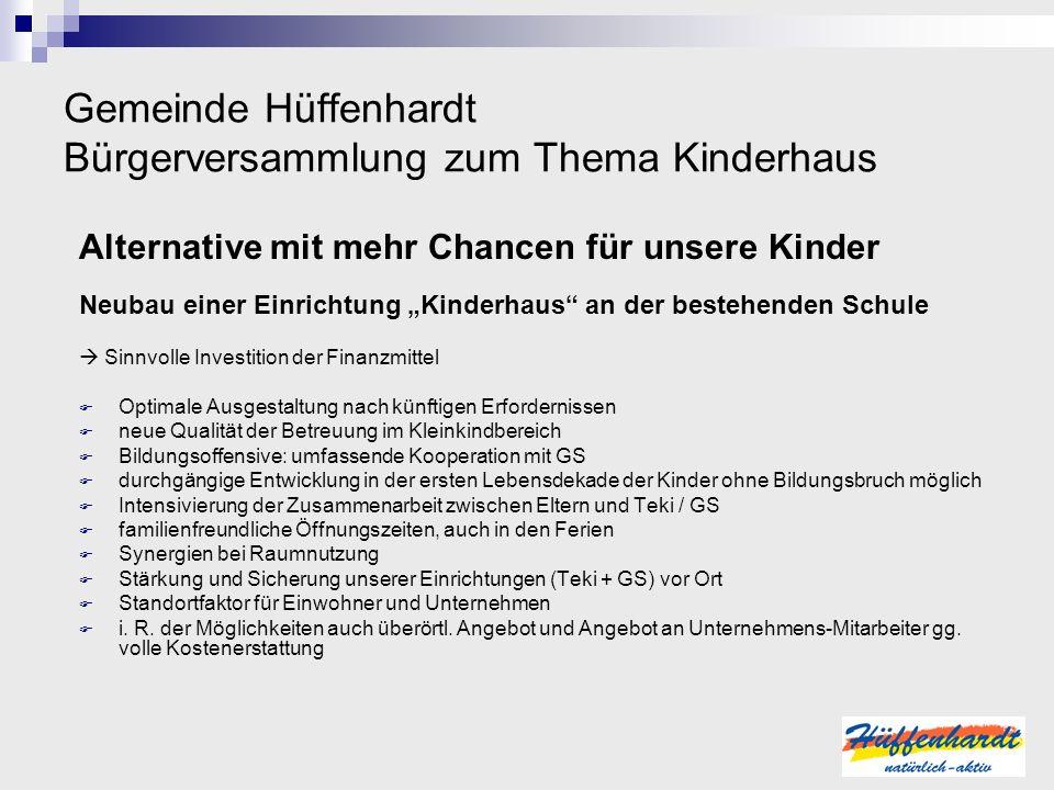 Gemeinde Hüffenhardt Bürgerversammlung zum Thema Kinderhaus Alternative mit mehr Chancen für unsere Kinder Neubau einer Einrichtung Kinderhaus an der