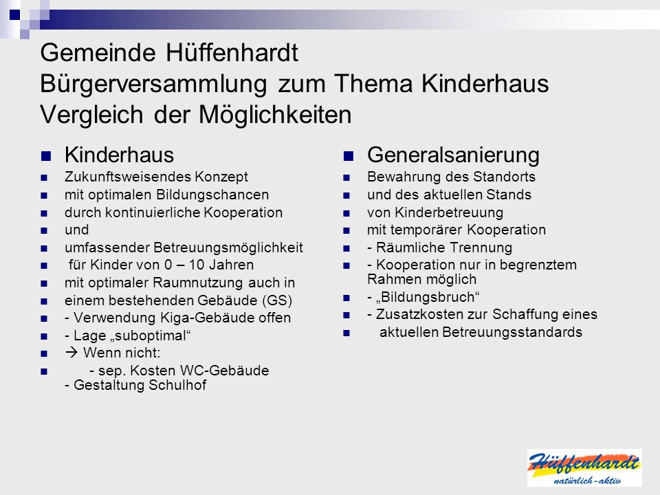 Gemeinde Hüffenhardt Bürgerversammlung zum Thema Kinderhaus Vergleich der Möglichkeiten Kinderhaus Zukunftsweisendes Konzept mit optimalen Bildungscha