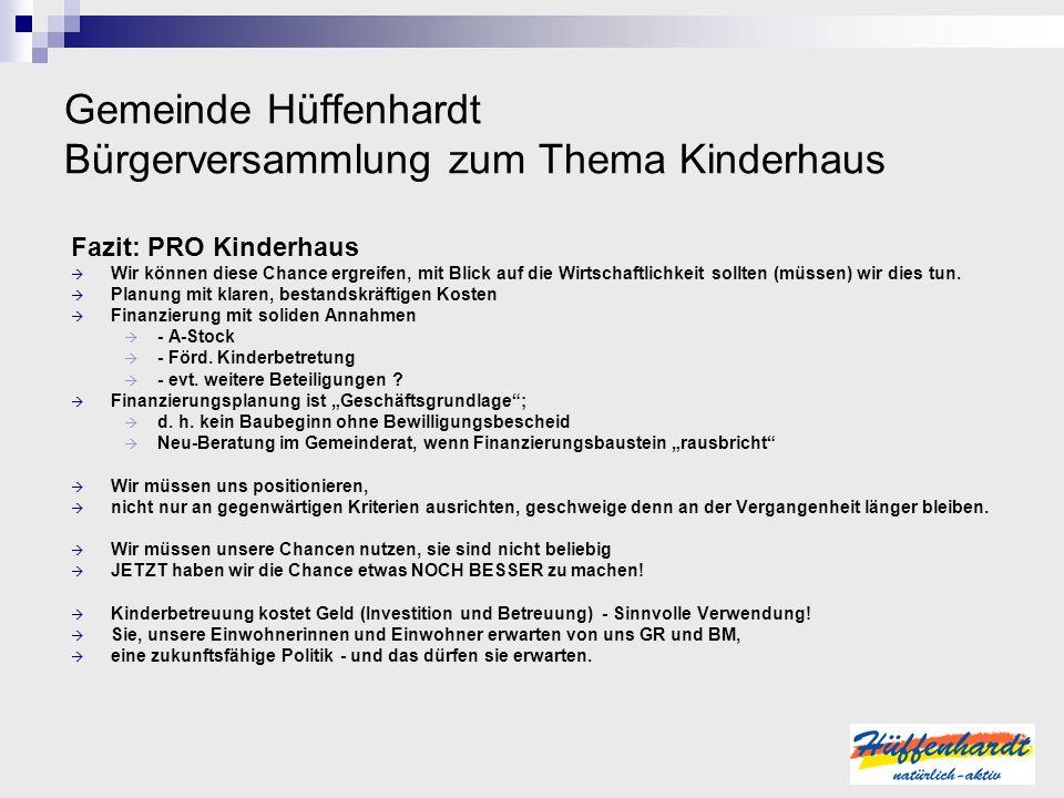 Gemeinde Hüffenhardt Bürgerversammlung zum Thema Kinderhaus Fazit: PRO Kinderhaus Wir können diese Chance ergreifen, mit Blick auf die Wirtschaftlichk