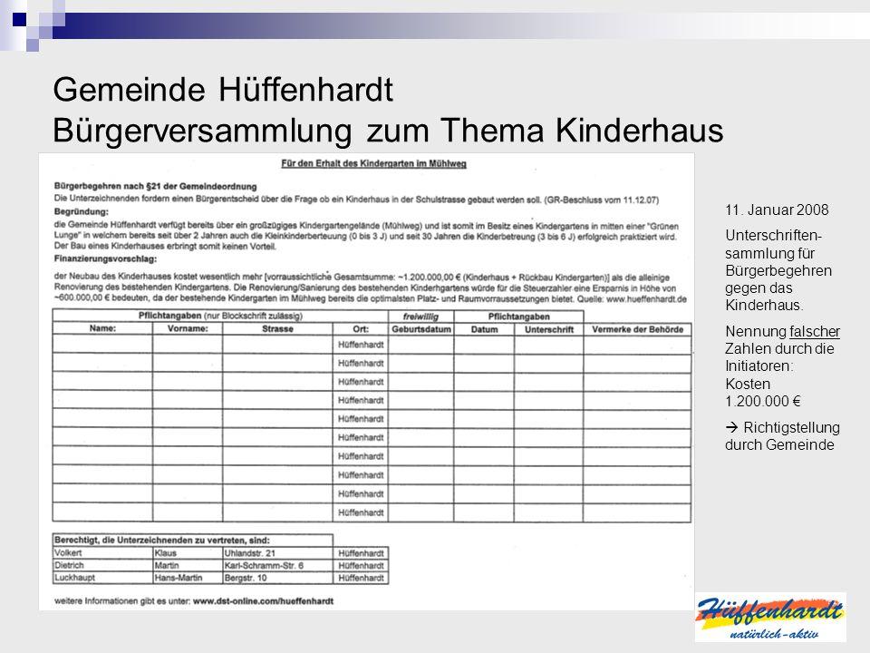 Gemeinde Hüffenhardt Bürgerversammlung zum Thema Kinderhaus 11. Januar 2008 Unterschriften- sammlung für Bürgerbegehren gegen das Kinderhaus. Nennung