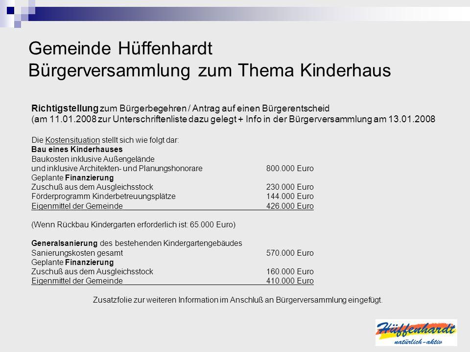 Gemeinde Hüffenhardt Bürgerversammlung zum Thema Kinderhaus Richtigstellung zum Bürgerbegehren / Antrag auf einen Bürgerentscheid (am 11.01.2008 zur U