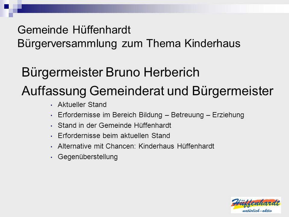 Gemeinde Hüffenhardt Bürgerversammlung zum Thema Kinderhaus Bürgermeister Bruno Herberich Auffassung Gemeinderat und Bürgermeister Aktueller Stand Erf