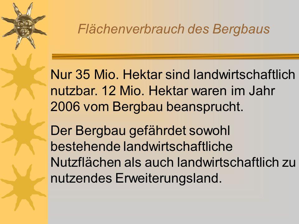 Nur 35 Mio. Hektar sind landwirtschaftlich nutzbar. 12 Mio. Hektar waren im Jahr 2006 vom Bergbau beansprucht. Der Bergbau gefährdet sowohl bestehende