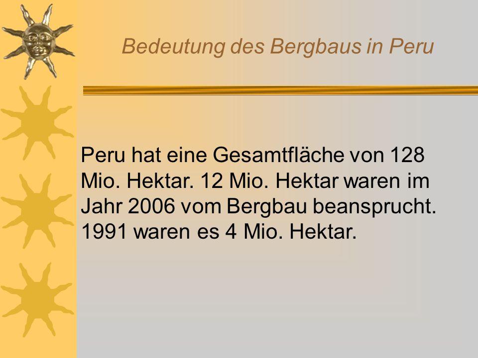 Bedeutung des Bergbaus in Peru Der Welt-Rang Perus in der Mineralien-Produktion Quelle: Minem, USGS (United States Geological Survey ) Metall WeltweitLateinamerika Kupfer32 Gold51 Zink31 Silber22 Blei41 Zinn31 Eisen175 Molybdän42