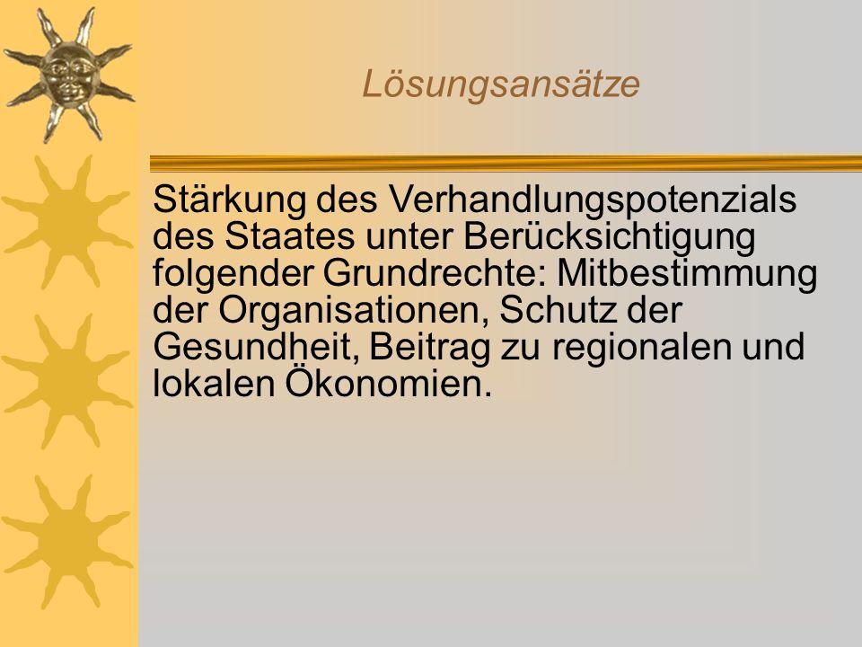 Lösungsansätze Stärkung des Verhandlungspotenzials des Staates unter Berücksichtigung folgender Grundrechte: Mitbestimmung der Organisationen, Schutz
