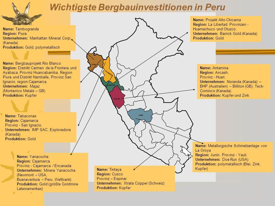 Bedeutung des Bergbaus in Peru Die Gewinne des Bergbaus bleiben weder in der Gemeinde noch in der Region.