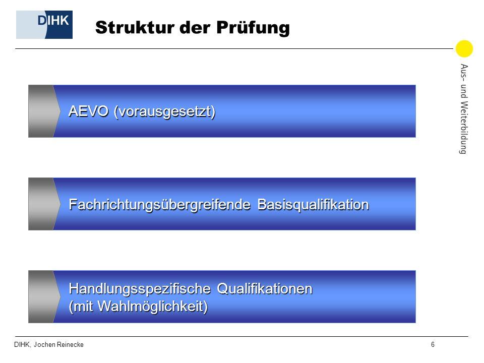 DIHK, Jochen Reinecke 6 Struktur der Prüfung AEVO (vorausgesetzt) Fachrichtungsübergreifende Basisqualifikation Handlungsspezifische Qualifikationen (