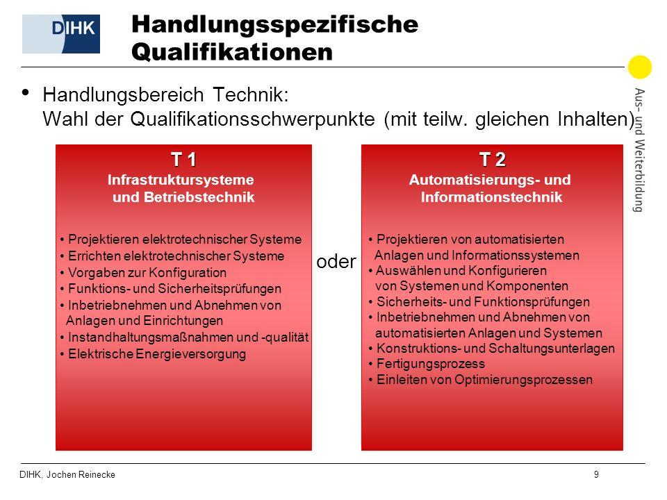 DIHK, Jochen Reinecke 9 Handlungsspezifische Qualifikationen Handlungsbereich Technik: Wahl der Qualifikationsschwerpunkte (mit teilw. gleichen Inhalt