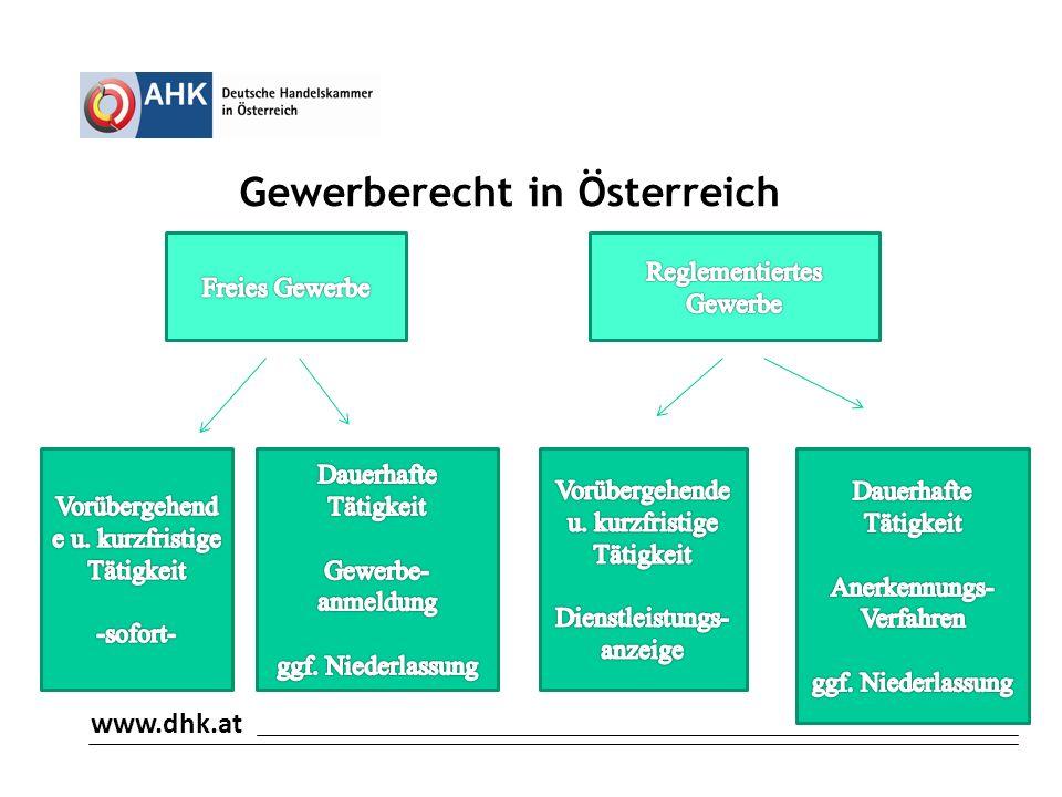 www.dhk.at Gewerberecht in Österreich