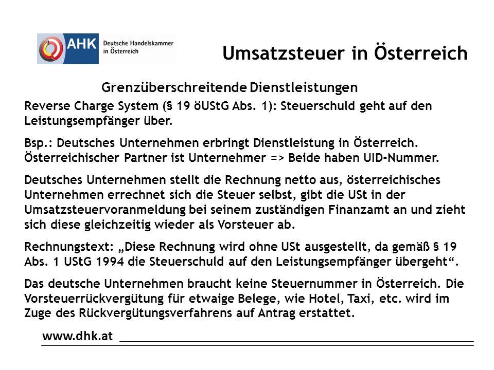Grenzüberschreitende Dienstleistungen Reverse Charge System (§ 19 öUStG Abs.