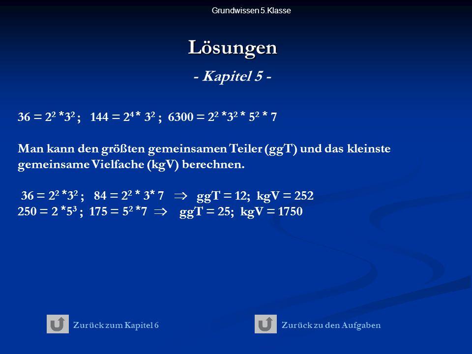 Grundwissen 5.KlasseLösungen - Kapitel 5 - 36 = 2 2 * 3 2 ; 144 = 2 4 * 3 2 ; 6300 = 2 2 * 3 2 * 5 2 * 7 Man kann den größten gemeinsamen Teiler (ggT) und das kleinste gemeinsame Vielfache (kgV) berechnen.