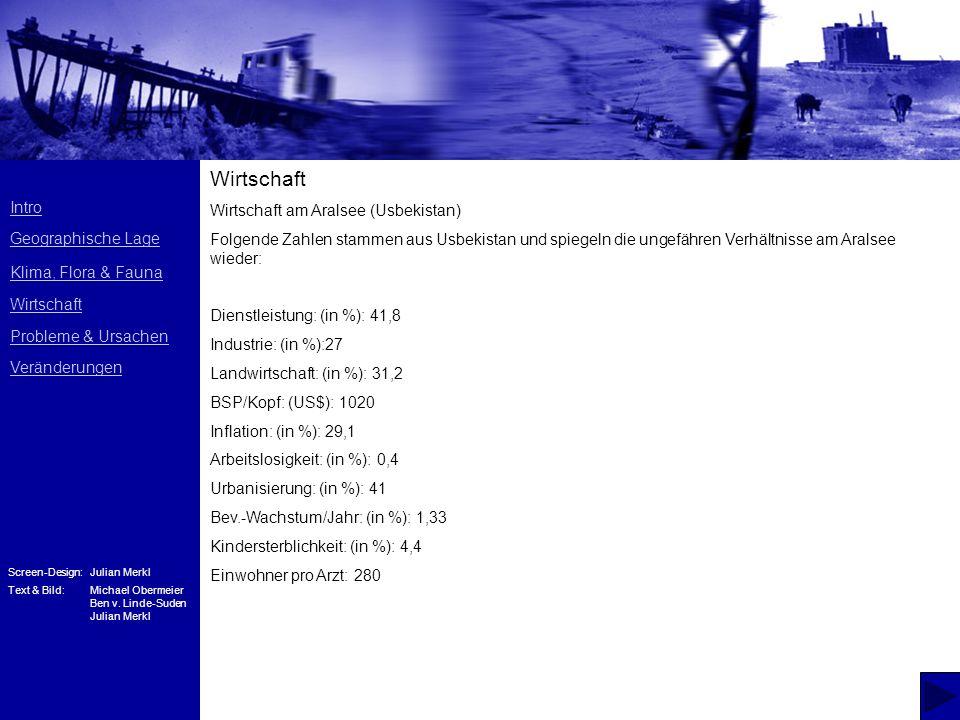 Intro Geographische Lage Klima, Flora & Fauna Wirtschaft Probleme & Ursachen Veränderungen Screen-Design:Julian Merkl Text & Bild:Michael Obermeier Be