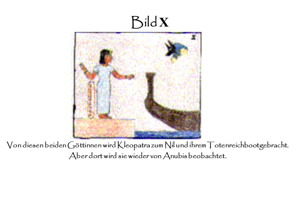 Bild IX Während der ganzen Zeit schwebt Anubis schützend über ihr und verlässt sie erst, nachdem sie von Hathor und Isis empfangen wird.