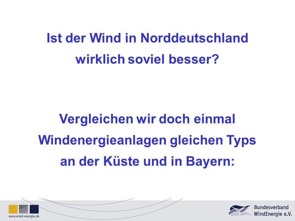 Ist der Wind in Norddeutschland wirklich soviel besser? Vergleichen wir doch einmal Windenergieanlagen gleichen Typs an der Küste und in Bayern: