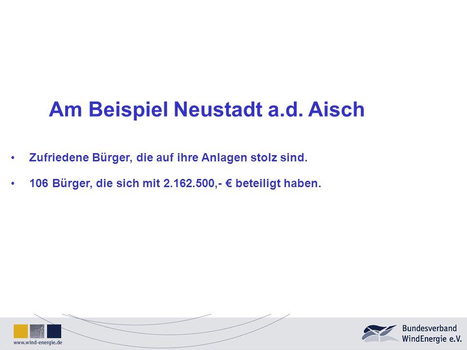 Am Beispiel Neustadt a.d. Aisch Zufriedene Bürger, die auf ihre Anlagen stolz sind. 106 Bürger, die sich mit 2.162.500,- beteiligt haben.