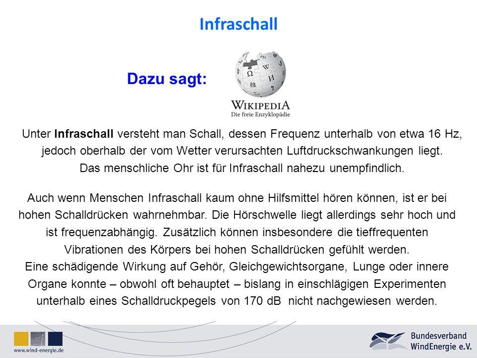 Unter Infraschall versteht man Schall, dessen Frequenz unterhalb von etwa 16 Hz, jedoch oberhalb der vom Wetter verursachten Luftdruckschwankungen lie