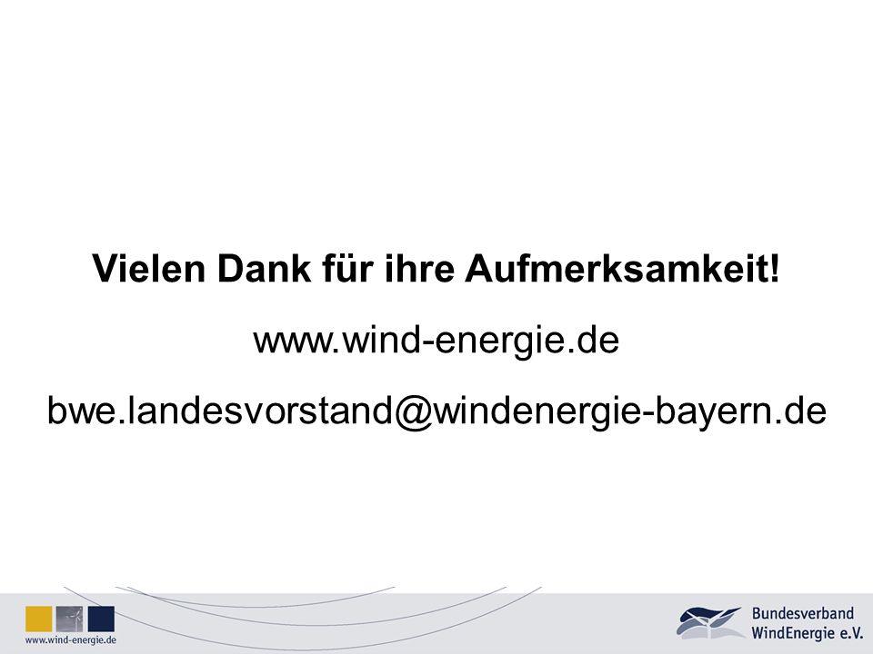 Vielen Dank für ihre Aufmerksamkeit! www.wind-energie.de bwe.landesvorstand@windenergie-bayern.de
