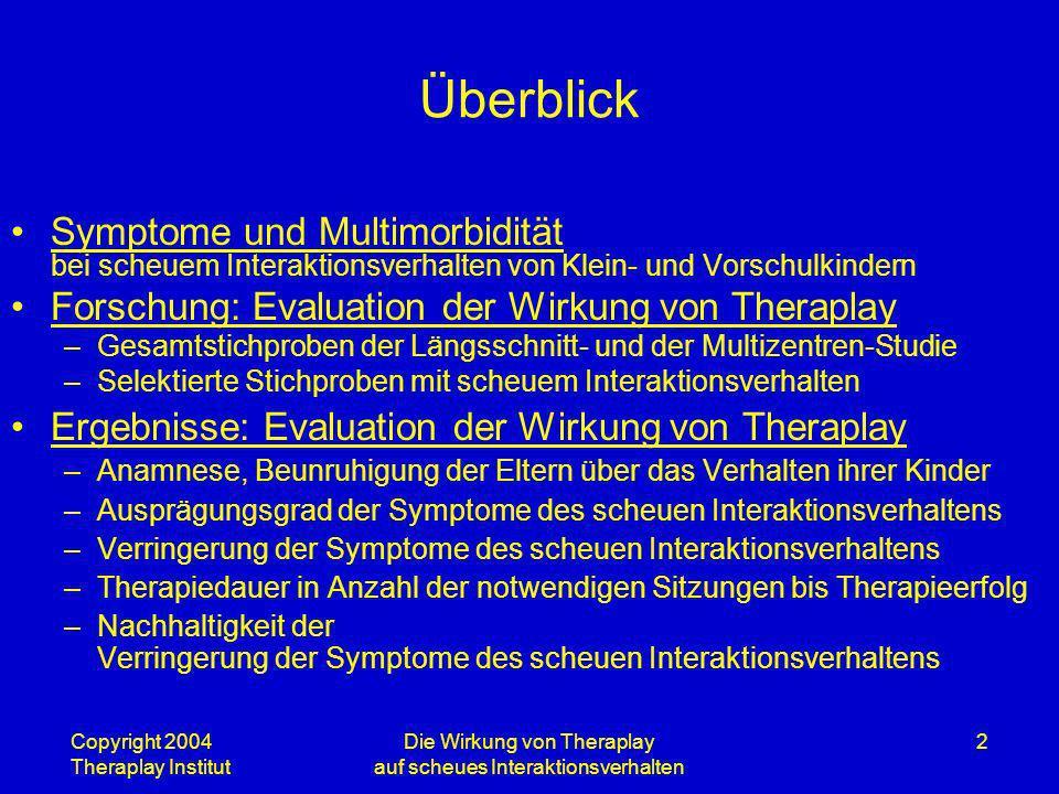 Copyright 2004 Theraplay Institut Die Wirkung von Theraplay auf scheues Interaktionsverhalten 2 Überblick Symptome und Multimorbidität bei scheuem Int