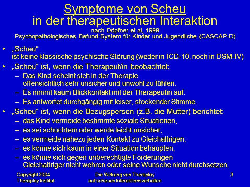 Copyright 2004 Theraplay Institut Die Wirkung von Theraplay auf scheues Interaktionsverhalten 3 Symptome von Scheu in der therapeutischen Interaktion