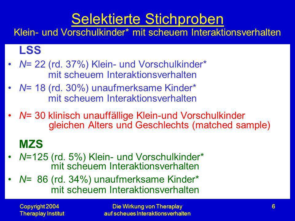 Copyright 2004 Theraplay Institut Die Wirkung von Theraplay auf scheues Interaktionsverhalten 6 Selektierte Stichproben Klein- und Vorschulkinder* mit