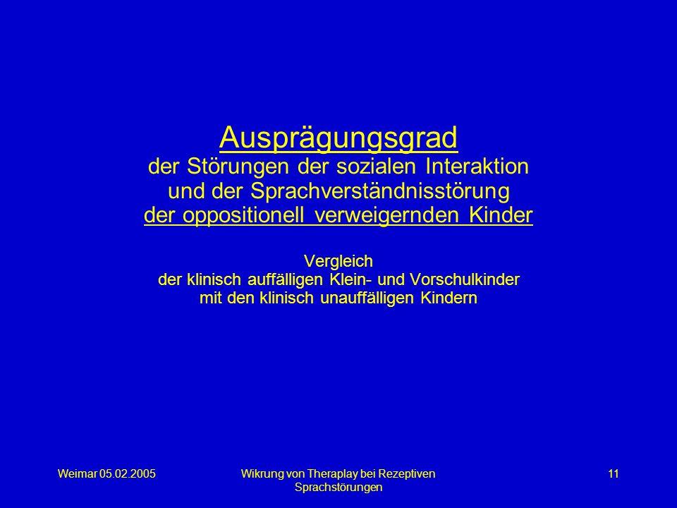Weimar 05.02.2005Wikrung von Theraplay bei Rezeptiven Sprachstörungen 11 Ausprägungsgrad der Störungen der sozialen Interaktion und der Sprachverständ