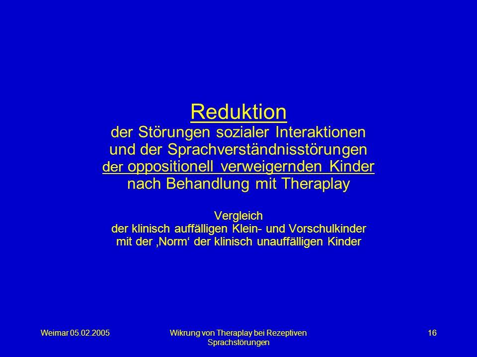 Weimar 05.02.2005Wikrung von Theraplay bei Rezeptiven Sprachstörungen 16 Reduktion der Störungen sozialer Interaktionen und der Sprachverständnisstöru