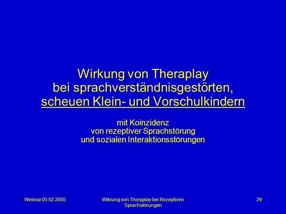 Weimar 05.02.2005Wikrung von Theraplay bei Rezeptiven Sprachstörungen 29 Wirkung von Theraplay bei sprachverständnisgestörten, scheuen Klein- und Vors