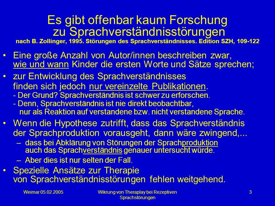 Weimar 05.02.2005Wikrung von Theraplay bei Rezeptiven Sprachstörungen 3 Es gibt offenbar kaum Forschung zu Sprachverständnisstörungen nach B. Zollinge