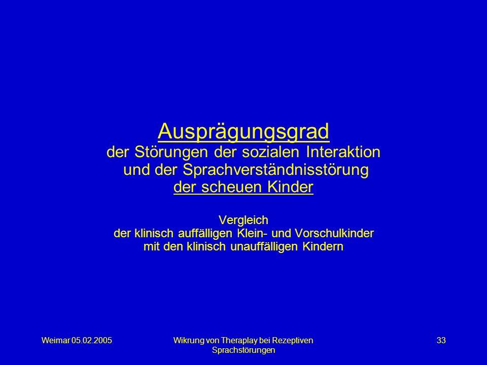 Weimar 05.02.2005Wikrung von Theraplay bei Rezeptiven Sprachstörungen 33 Ausprägungsgrad der Störungen der sozialen Interaktion und der Sprachverständ