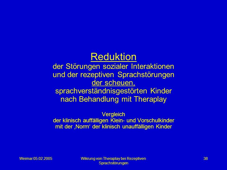 Weimar 05.02.2005Wikrung von Theraplay bei Rezeptiven Sprachstörungen 38 Reduktion der Störungen sozialer Interaktionen und der rezeptiven Sprachstöru