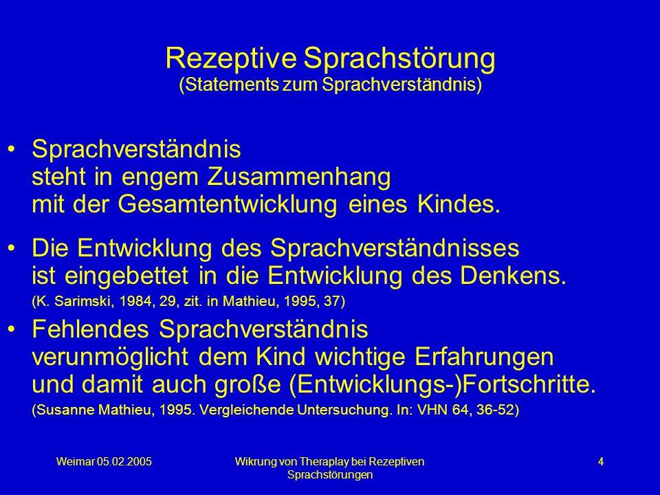 Weimar 05.02.2005Wikrung von Theraplay bei Rezeptiven Sprachstörungen 4 Rezeptive Sprachstörung (Statements zum Sprachverständnis) Sprachverständnis s