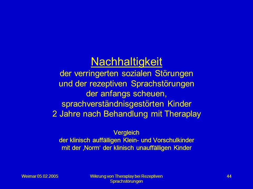 Weimar 05.02.2005Wikrung von Theraplay bei Rezeptiven Sprachstörungen 44 Nachhaltigkeit der verringerten sozialen Störungen und der rezeptiven Sprachs