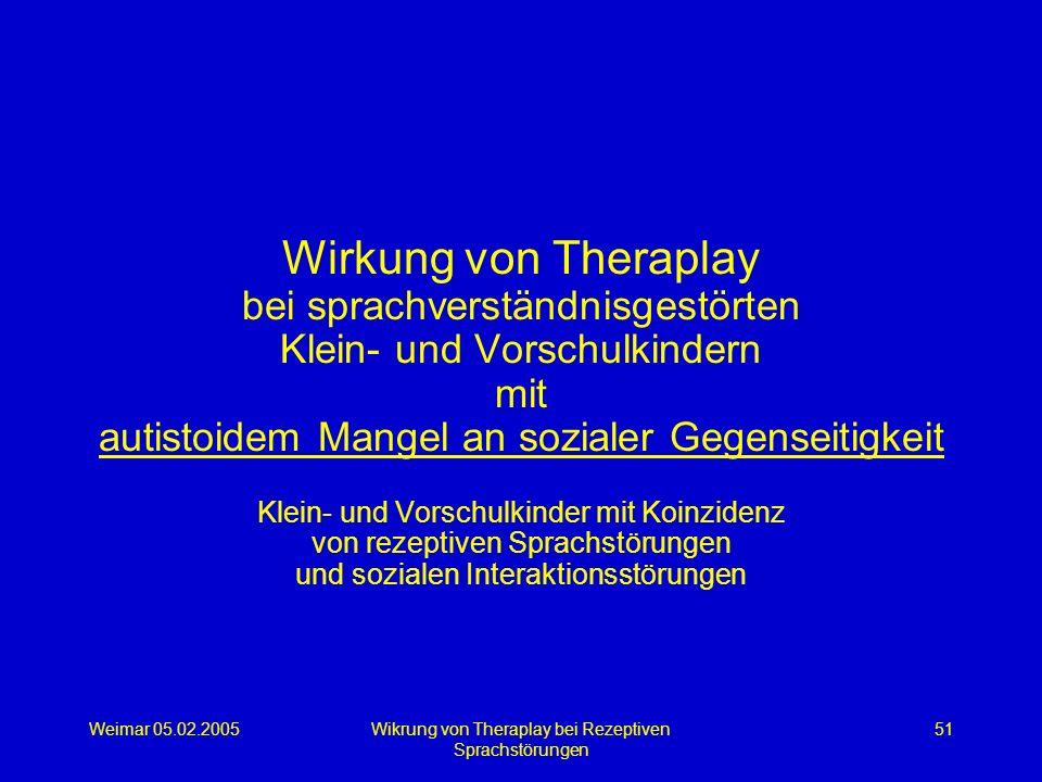 Weimar 05.02.2005Wikrung von Theraplay bei Rezeptiven Sprachstörungen 51 Wirkung von Theraplay bei sprachverständnisgestörten Klein- und Vorschulkinde