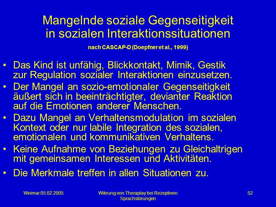 Weimar 05.02.2005Wikrung von Theraplay bei Rezeptiven Sprachstörungen 52 Mangelnde soziale Gegenseitigkeit in sozialen Interaktionssituationen nach CA
