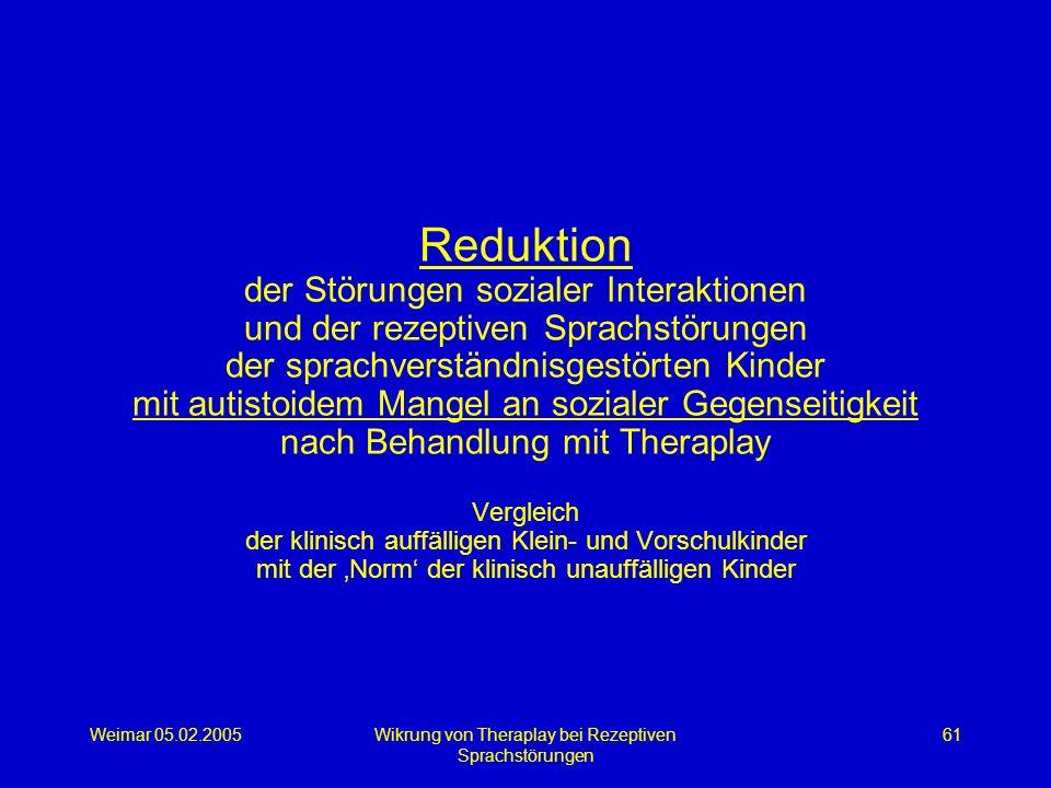 Weimar 05.02.2005Wikrung von Theraplay bei Rezeptiven Sprachstörungen 61 Reduktion der Störungen sozialer Interaktionen und der rezeptiven Sprachstöru