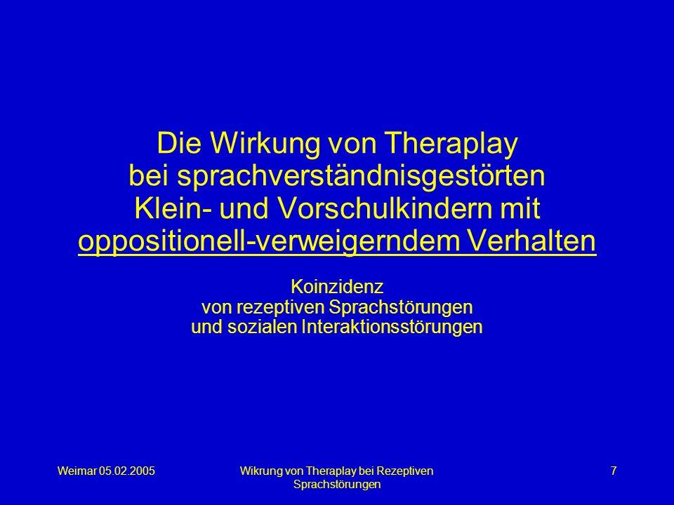 Weimar 05.02.2005Wikrung von Theraplay bei Rezeptiven Sprachstörungen 7 Die Wirkung von Theraplay bei sprachverständnisgestörten Klein- und Vorschulki