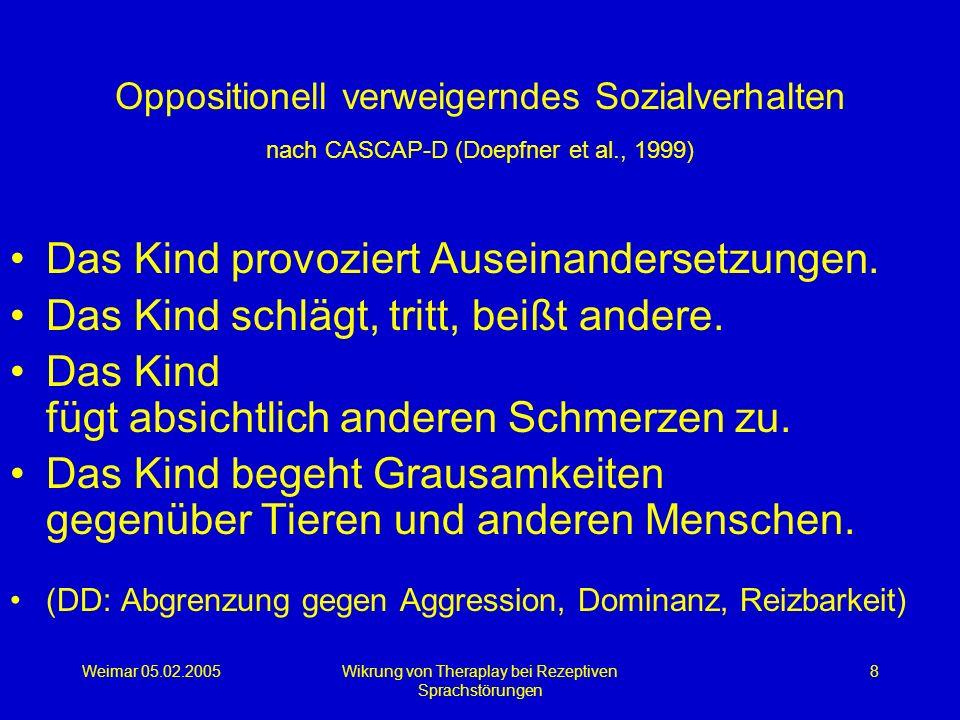 Weimar 05.02.2005Wikrung von Theraplay bei Rezeptiven Sprachstörungen 8 Oppositionell verweigerndes Sozialverhalten nach CASCAP-D (Doepfner et al., 19