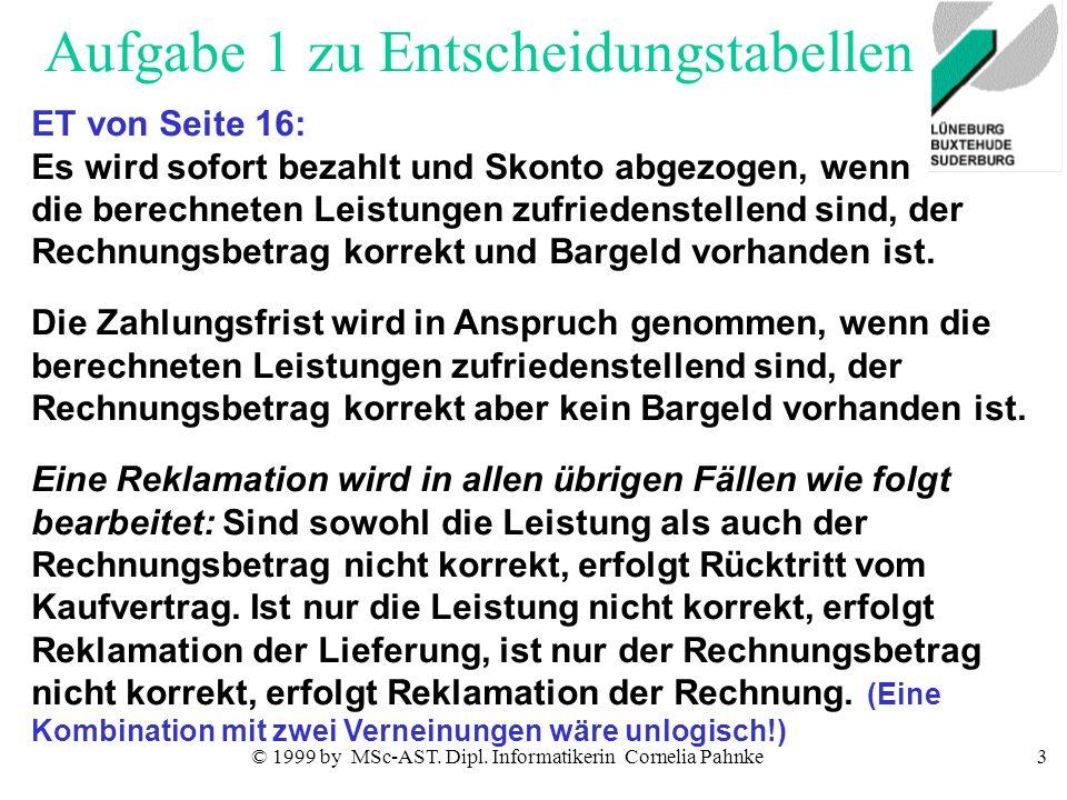© 1999 by MSc-AST. Dipl. Informatikerin Cornelia Pahnke3 Aufgabe 1 zu Entscheidungstabellen ET von Seite 16: Es wird sofort bezahlt und Skonto abgezog