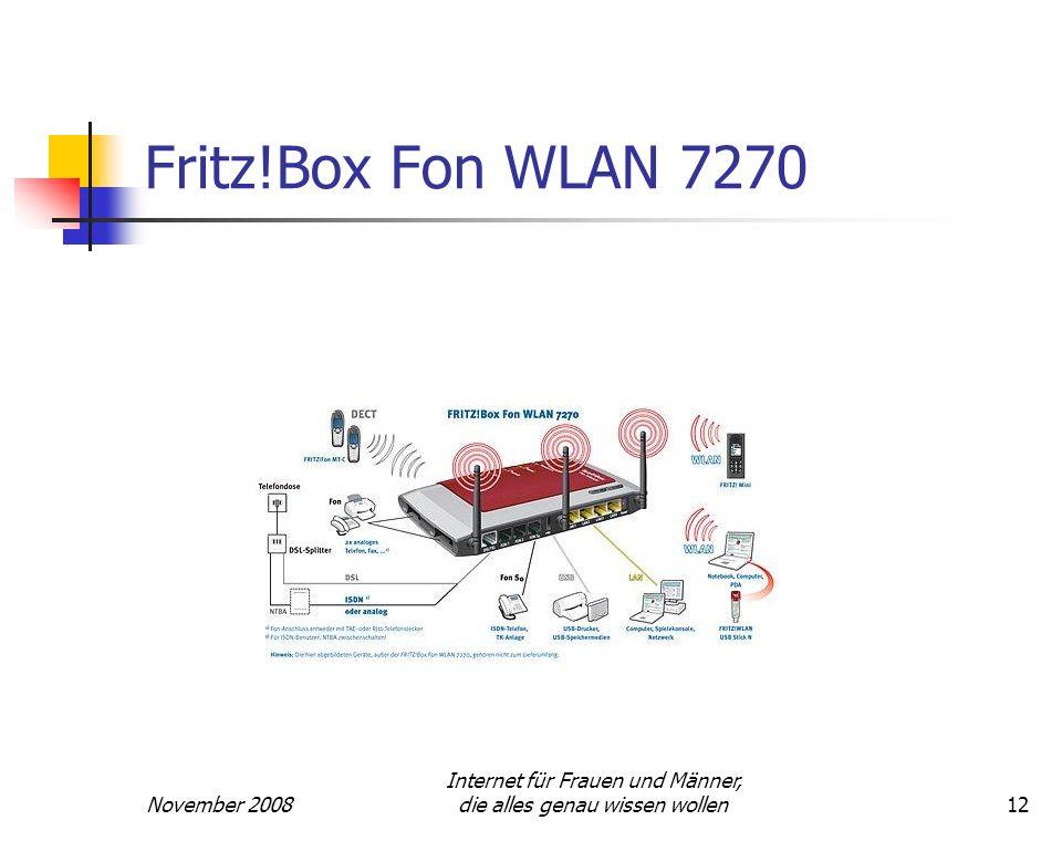 November 2008 Internet für Frauen und Männer, die alles genau wissen wollen12 Fritz!Box Fon WLAN 7270