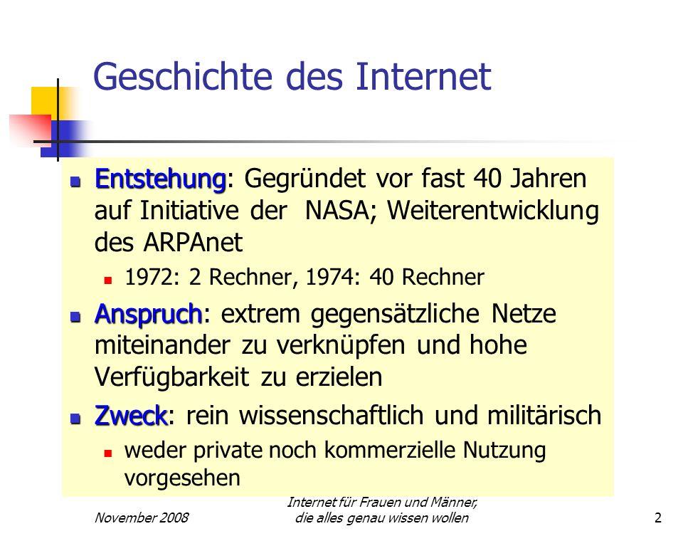 November 2008 Internet für Frauen und Männer, die alles genau wissen wollen2 Geschichte des Internet Entstehung Entstehung: Gegründet vor fast 40 Jahr