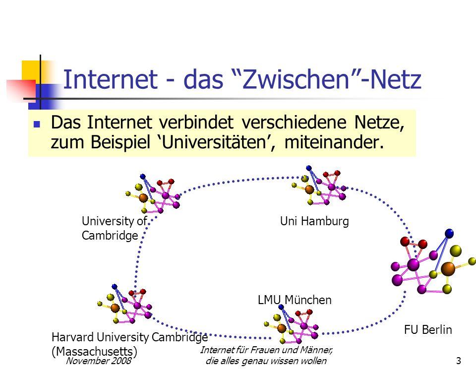 November 2008 Internet für Frauen und Männer, die alles genau wissen wollen3 Internet - das Zwischen-Netz Das Internet verbindet verschiedene Netze, z