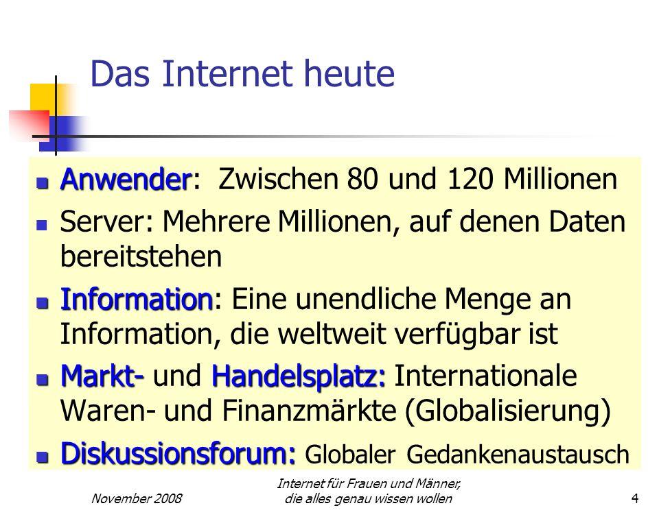 November 2008 Internet für Frauen und Männer, die alles genau wissen wollen4 Das Internet heute Anwender Anwender: Zwischen 80 und 120 Millionen Serve
