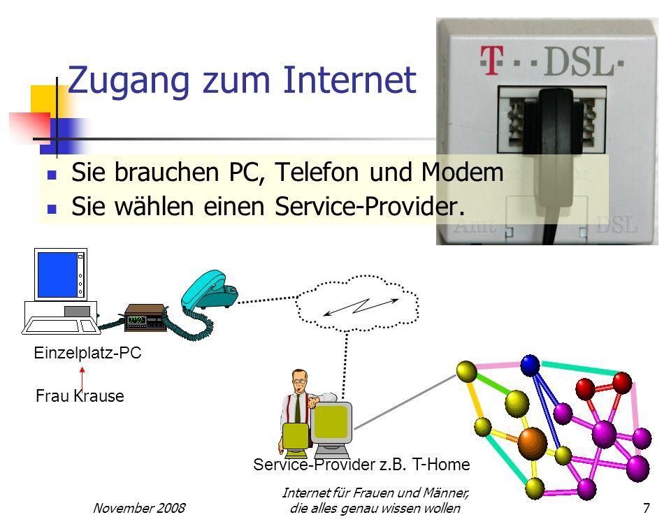 November 2008 Internet für Frauen und Männer, die alles genau wissen wollen7 Zugang zum Internet Sie brauchen PC, Telefon und Modem Sie wählen einen S